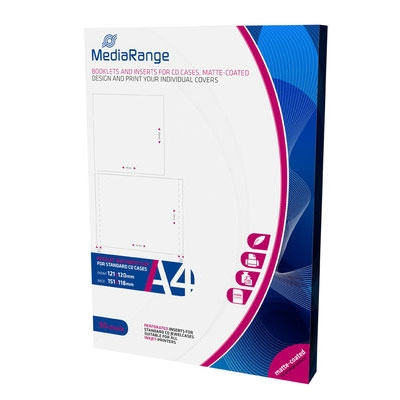 MediaRange Booklets and Inserts for CD Jewelcases Matte (50 Pack) (MRINK120)