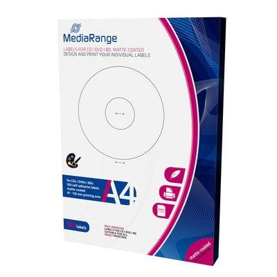 MediaRange Labels for CD/DVD/BD 41-118mm Matte (100 Pack) (MRINK131)
