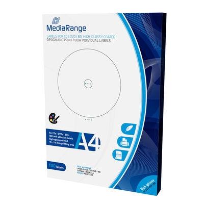MediaRange Labels for CD/DVD/BD 15-118mm High-Glossy (100 Pack) (MRINK132)