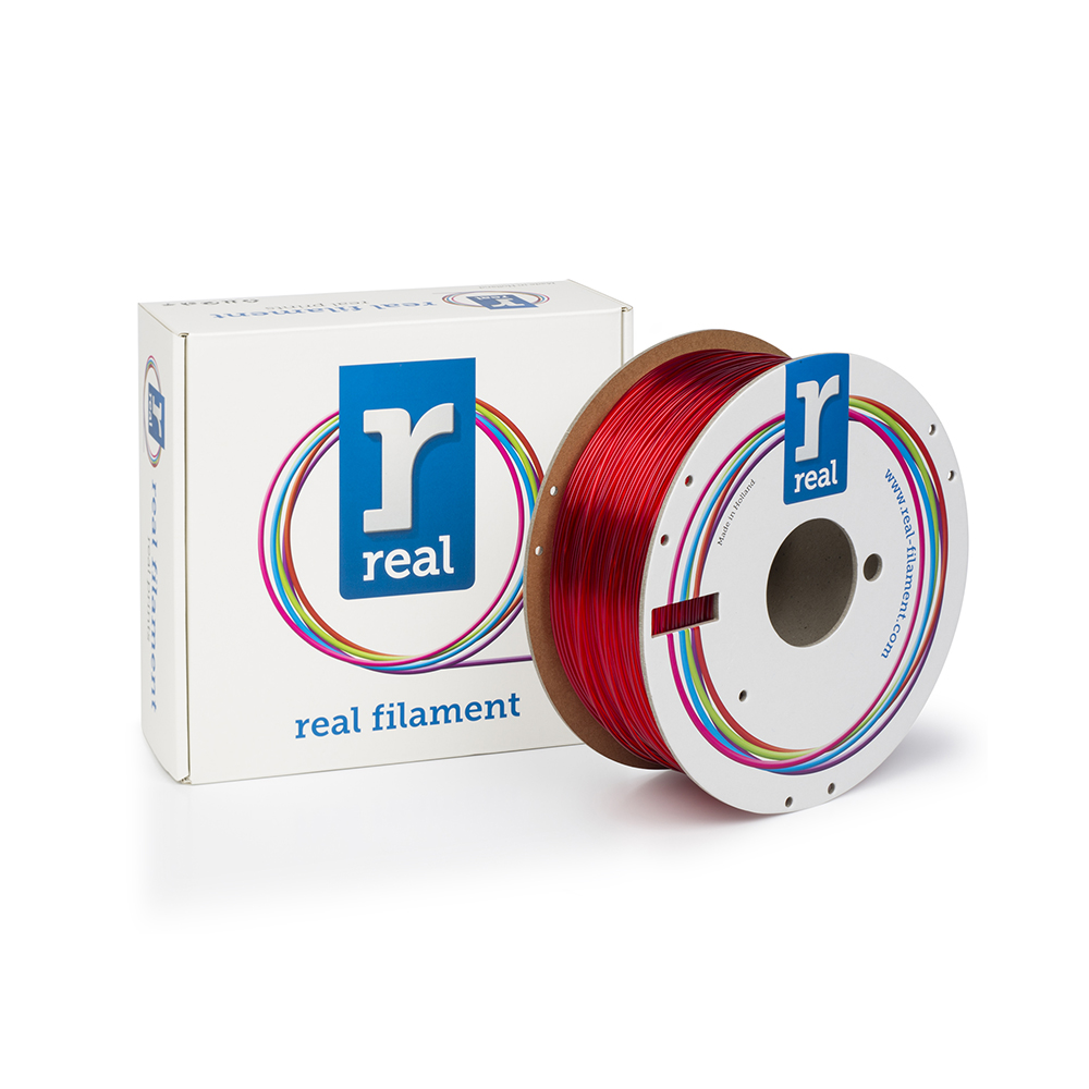 REAL PETG 3D Printer Filament - Translucent Red - spool of 1Kg - 1.75mm (REFPETGRED1000MM175)