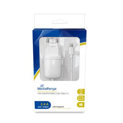 MediaRange Φορτιστής 2.4A για smartphones και συσκευές με Micro USB (Λευκό) (MRMA102-02)