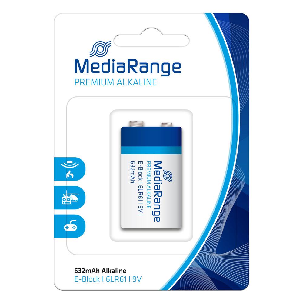 Αλκαλική Μπαταρία MediaRange Premium E-Block 9V (6LR61) (MRBAT107)
