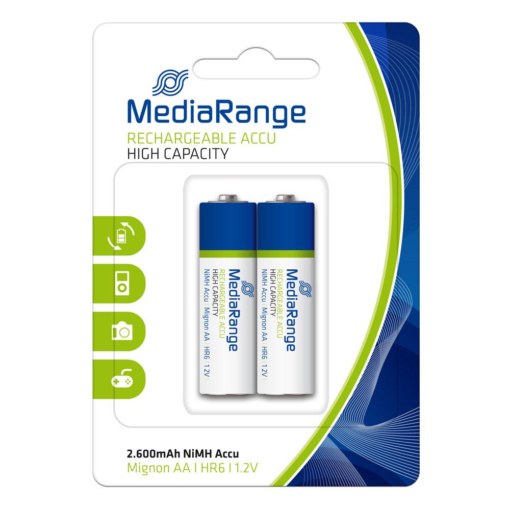 Επαναφορτιζόμενη Μπαταρία MediaRange High Cap. NiMH Accus AA 1.2V (HR6) (2 Pack) (MRBAT123)