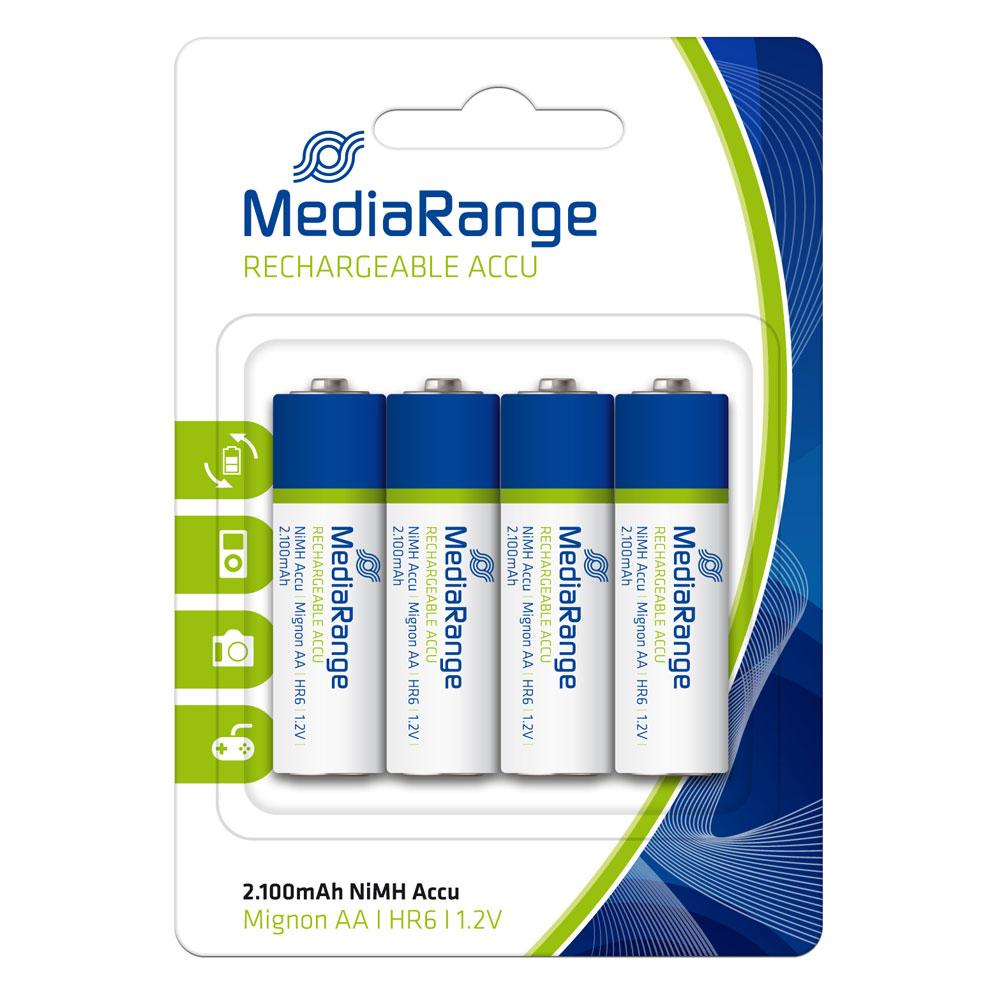 Επαναφορτιζόμενη Μπαταρία MediaRange NiMH Accus AA 1.2V (HR6) (4 Pack) (MRBAT121)