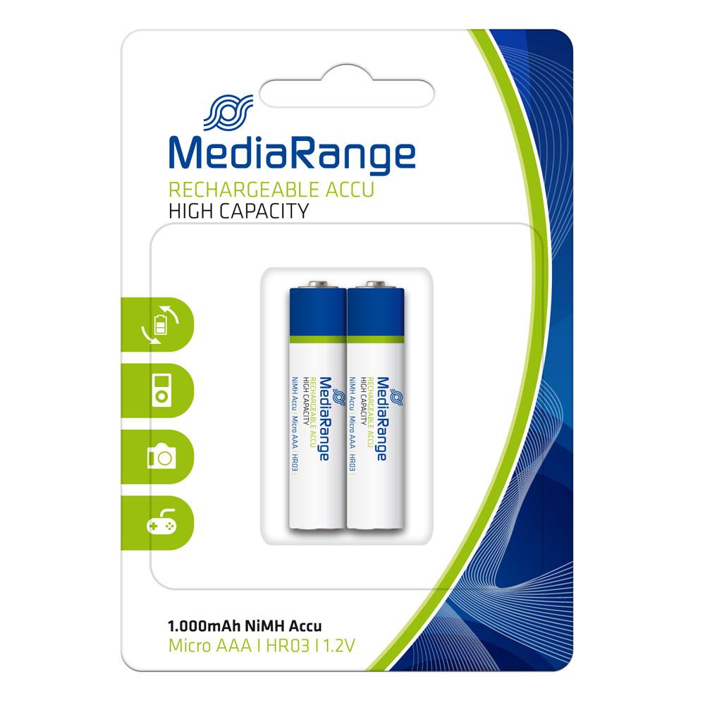Επαναφορτιζόμενη Μπαταρία MediaRange High Cap. NiMH Accus AAA 1.2V (HR03) (2 Pack) (MRBAT122)