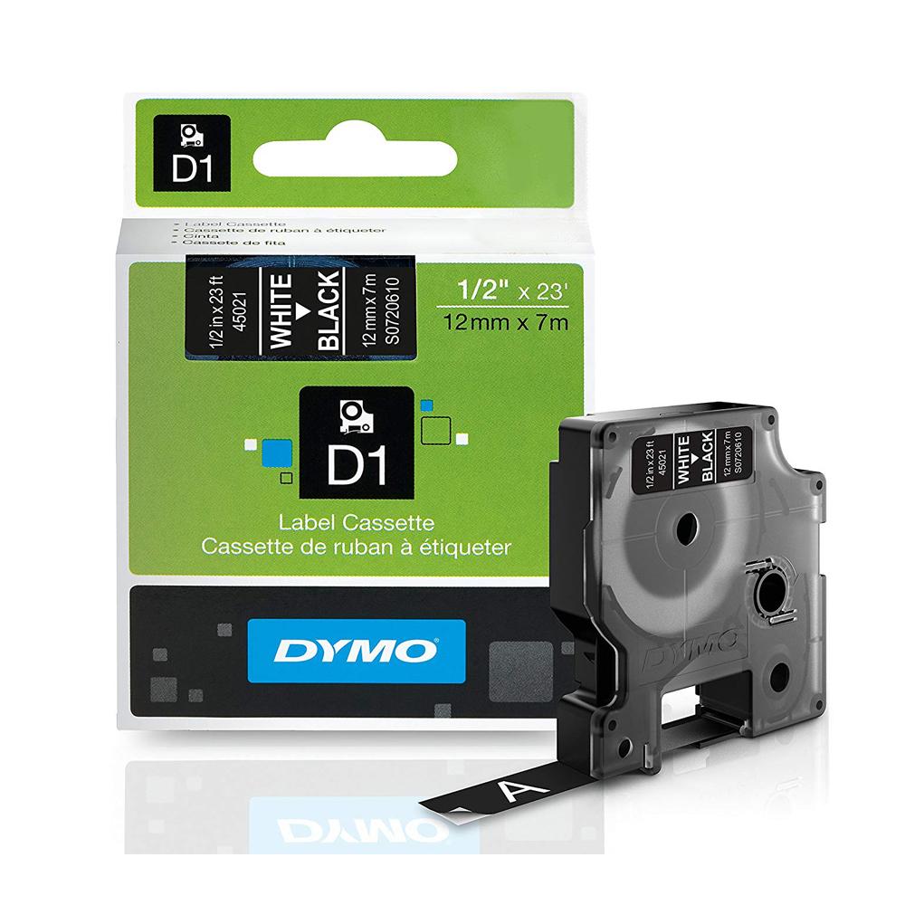 Ταινία Ετικετογράφου DYMO D1 S0720610 12mmX7m (Λευκό/Μαύρο) (S0720610) (DYMO45021)
