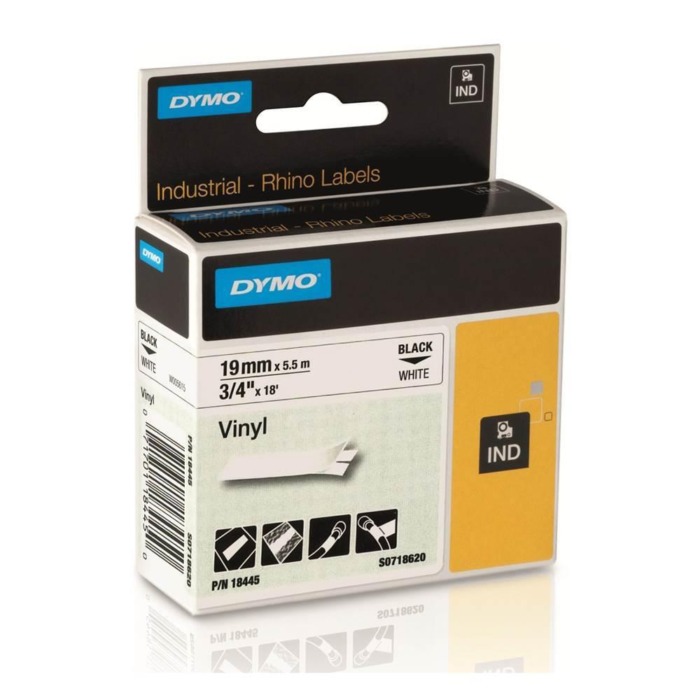 Ταινία Ετικετογράφου DYMO Vinyl (Μαύρα Γράμματα σε Λευκό Φόντο) (S0718620) (DYMO18445)