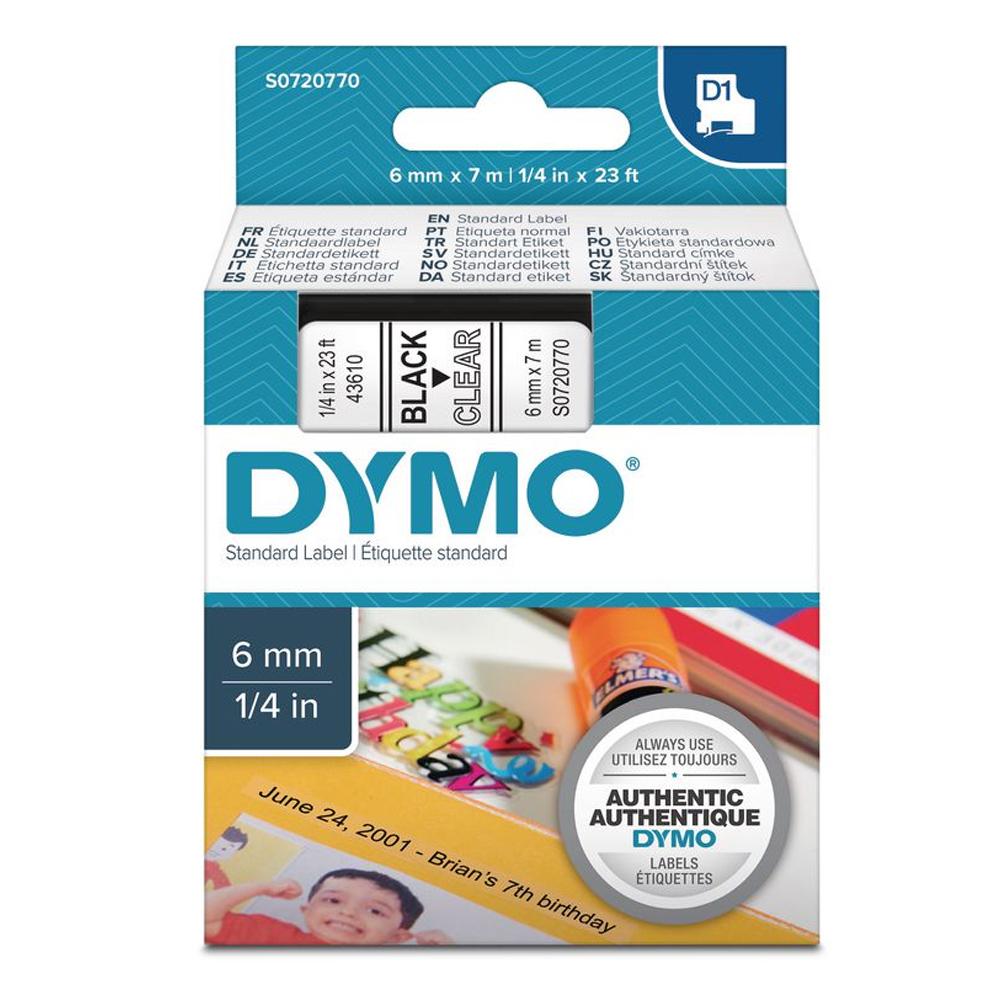 Ταινία Ετικετογράφου DYMO Standard 43610 6 mm x 7 m (Μαύρα Γράμματα σε Διάφανο Φόντο) (S0720770) (DYMO43610)
