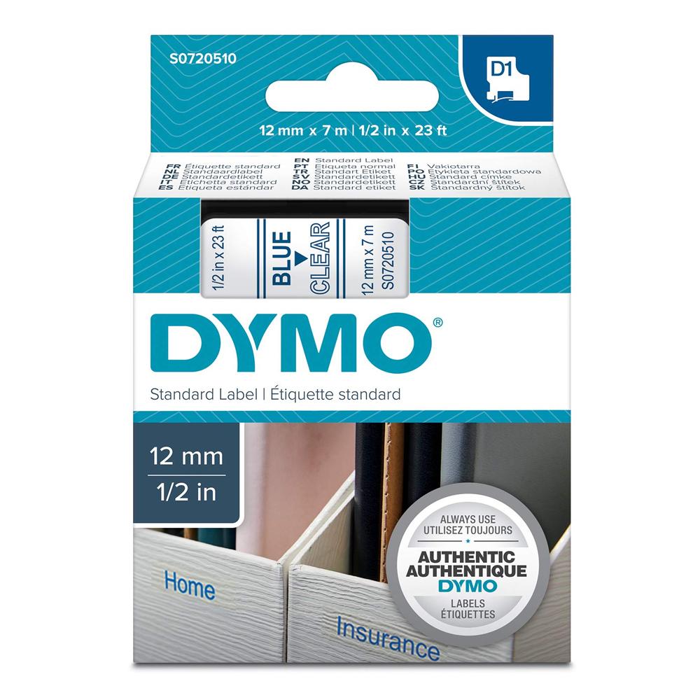 Ταινία Ετικετογράφου DYMO Standard 45011 12 mm x 7 m (Μπλέ Γράμματα σε Διάφανο Φόντο) (S0720510) (DYMO45011)