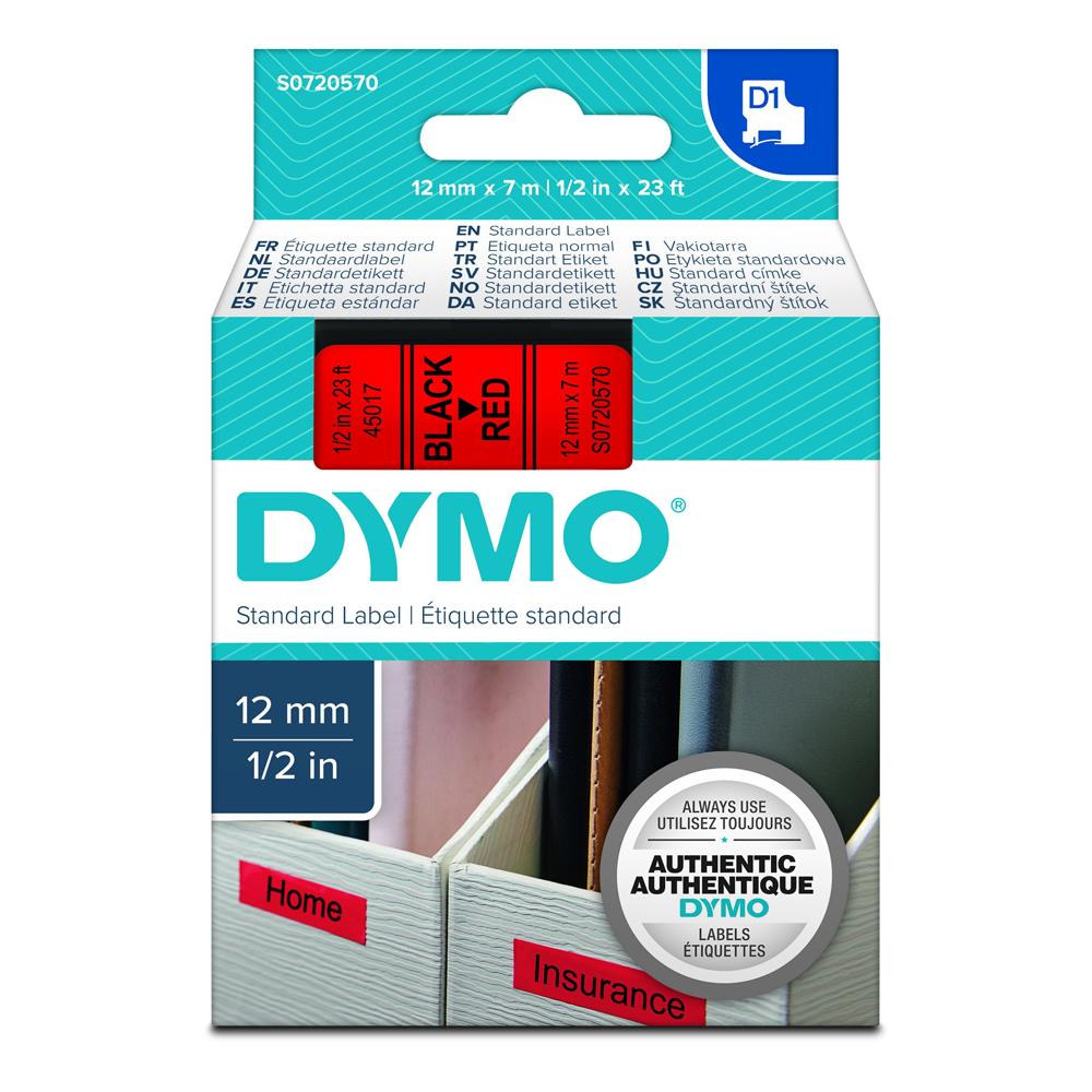Ταινία Ετικετογράφου DYMO Standard 45017 12 mm x 7 m (Μαύρα Γράμματα σε Κόκκινο Φόντο) (S0720570) (DYMO45017)