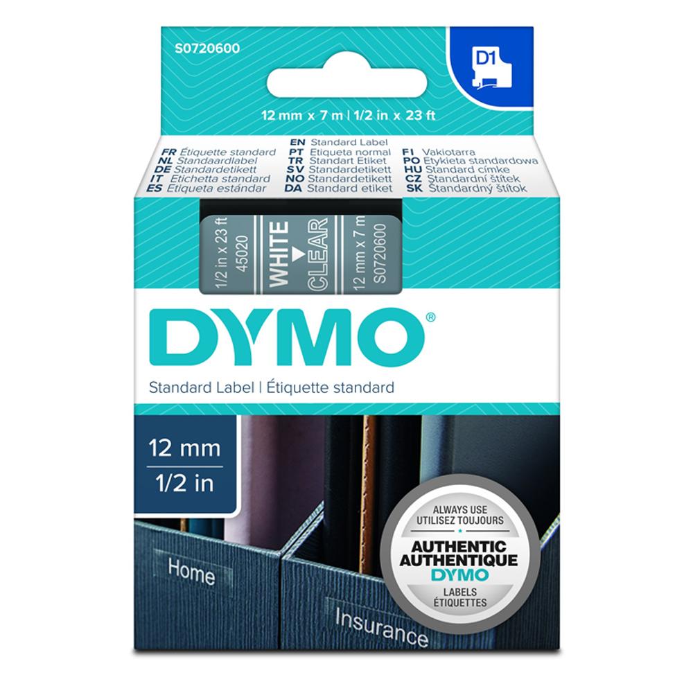 Ταινία Ετικετογράφου DYMO Standard 45020 12 mm x 7 m (Λευκά Γράμματα σε Διάφανο Φόντο) (S0720600) (DYMO45020)