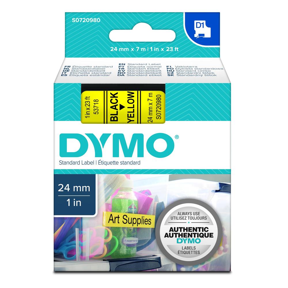 Ταινία Ετικετογράφου DYMO Standard 53718 24 mm x 7 m (Μαύρα Γράμματα σε Κίτρινο Φόντο) (S0720980) (DYMO53718)