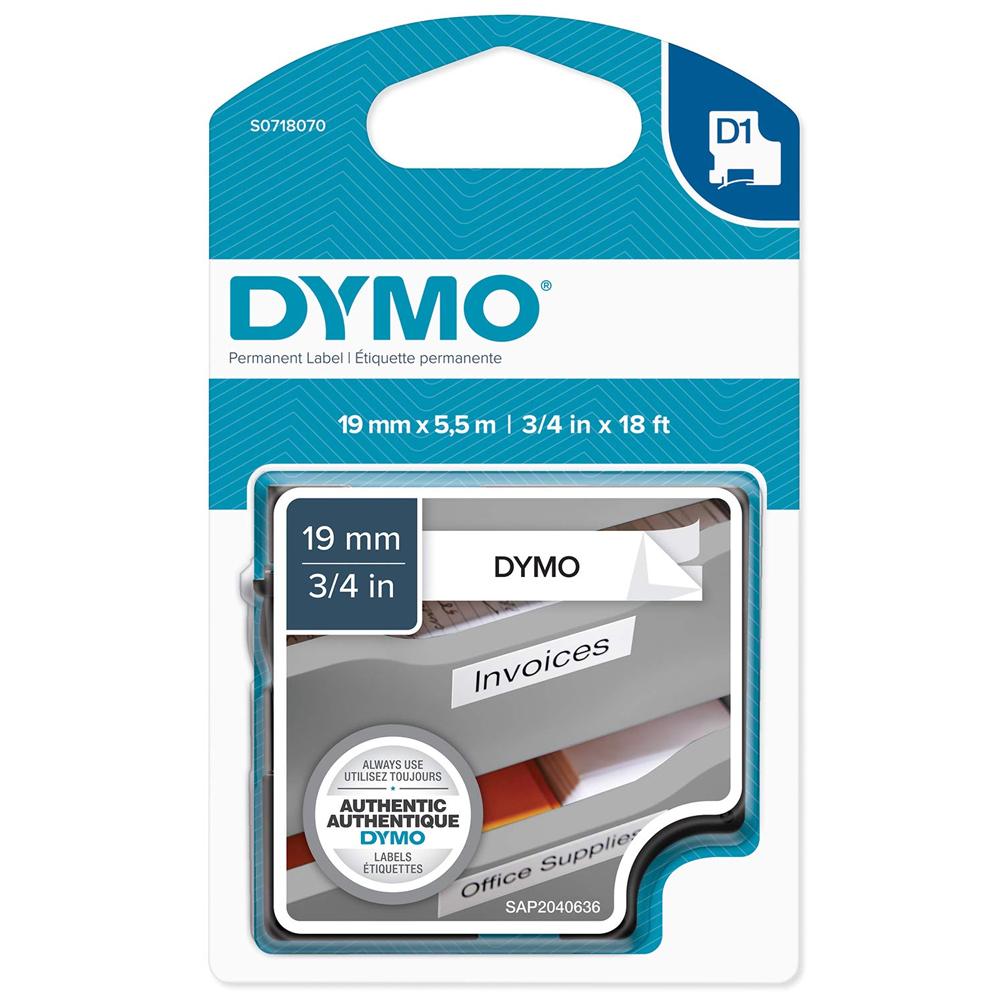 Ταινία Ετικετογράφου DYMO D1 Permanent Polyestertape 19mm x 5,5m (Μαύρα Γράμματα σε Λευκό Φόντο) (S0718070) (DYMO16960)