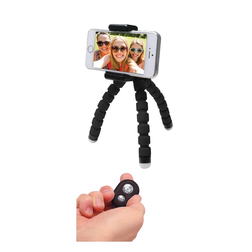 MediaRange Universal Mini Tripod With Flexible legs and remote shutter, Black (MRMA205)