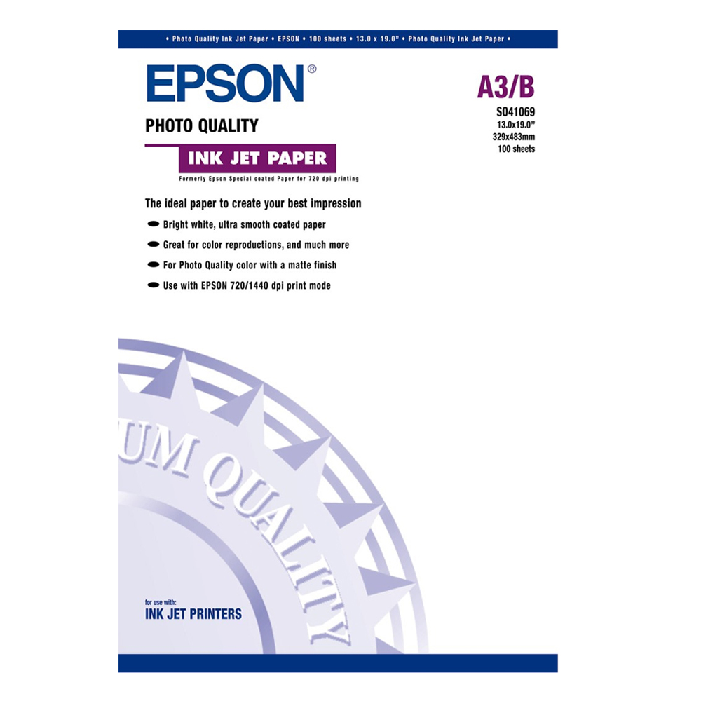 Χαρτί EPSON Photo Quality Inkjet Paper A3+ Pack of 100 (C13S041069) (EPSS041069)