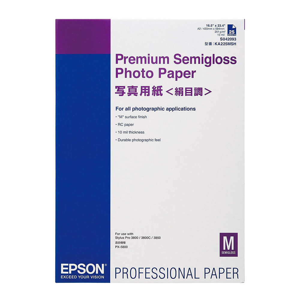 Χαρτί EPSON Premium Semigloss Photo Paper, DIN A2, 250g/m², 25 Sheets (C13S042093) (EPSS042093)