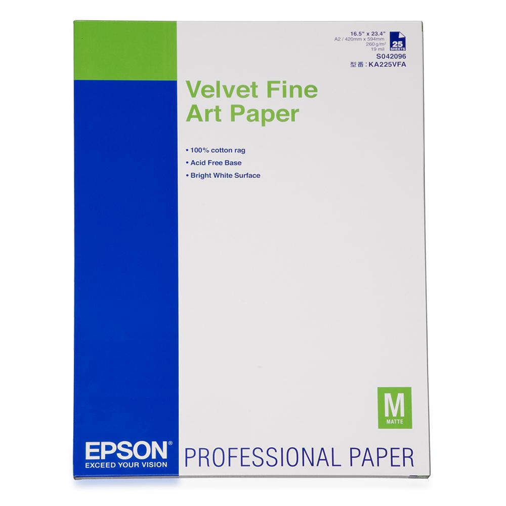 Χαρτί EPSON Velvet Fine Art Paper, DIN A2, 260g/m², 25 Sheets (C13S042096) (EPSS042096)
