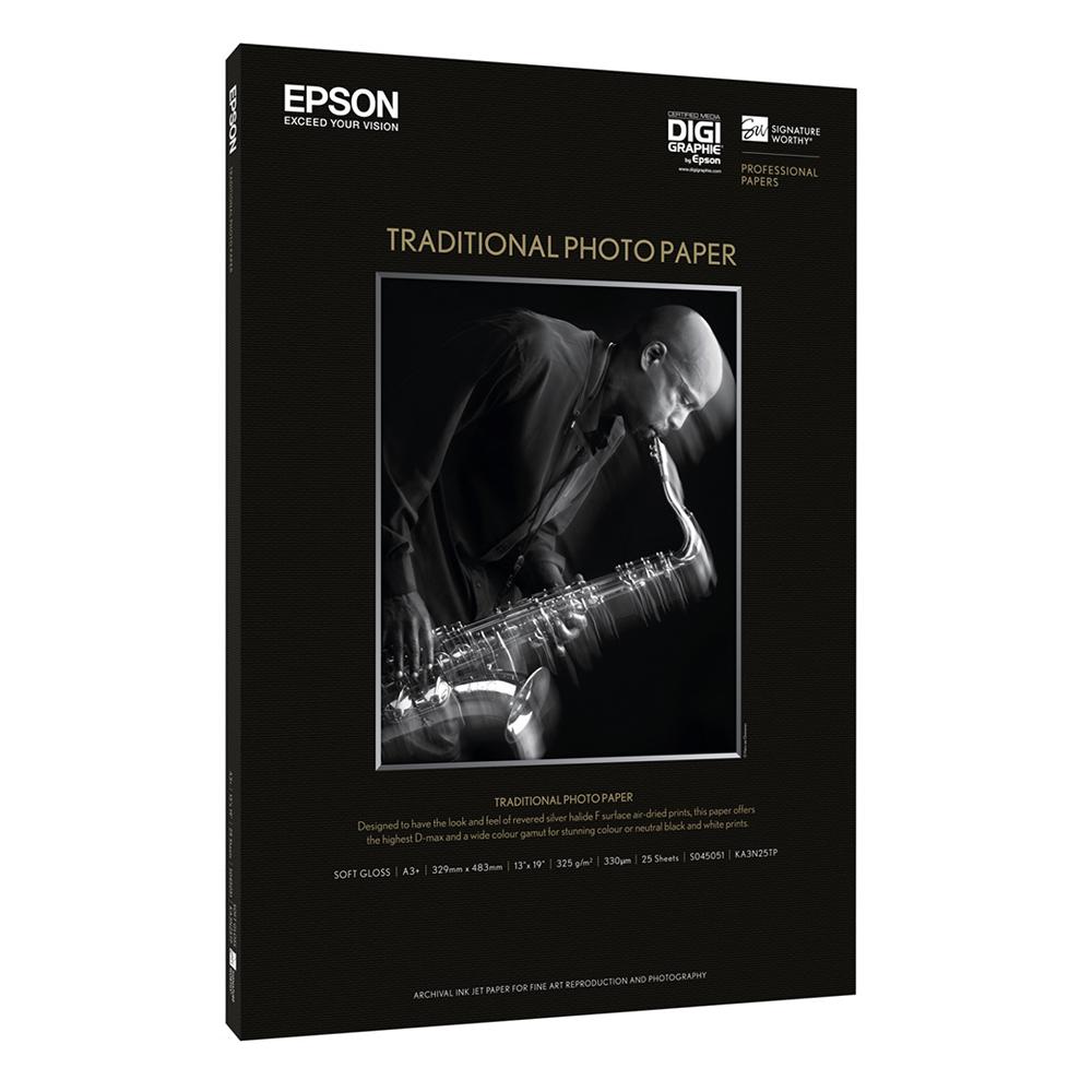 Χαρτί EPSON Traditional Photo Paper, DIN A3+, 330g/m², 25 Sheets (C13S045051) (EPSS045051)