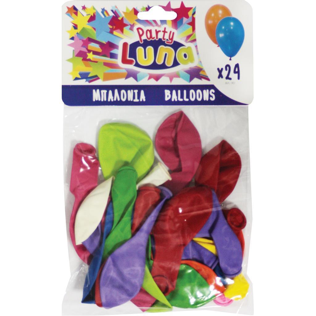 Μπαλόνια Luna Πολύχρωμα 24 εκ. 24 Τμχ.