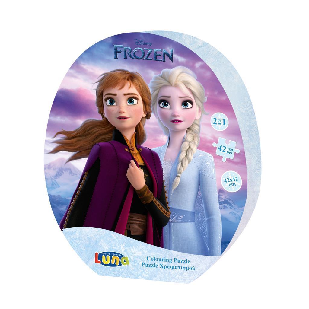 Παζλ Χρωματισμού Disney Frozen 2, 2 Όψεων Luna Toys, 42 Τμχ., 42x42 εκ.