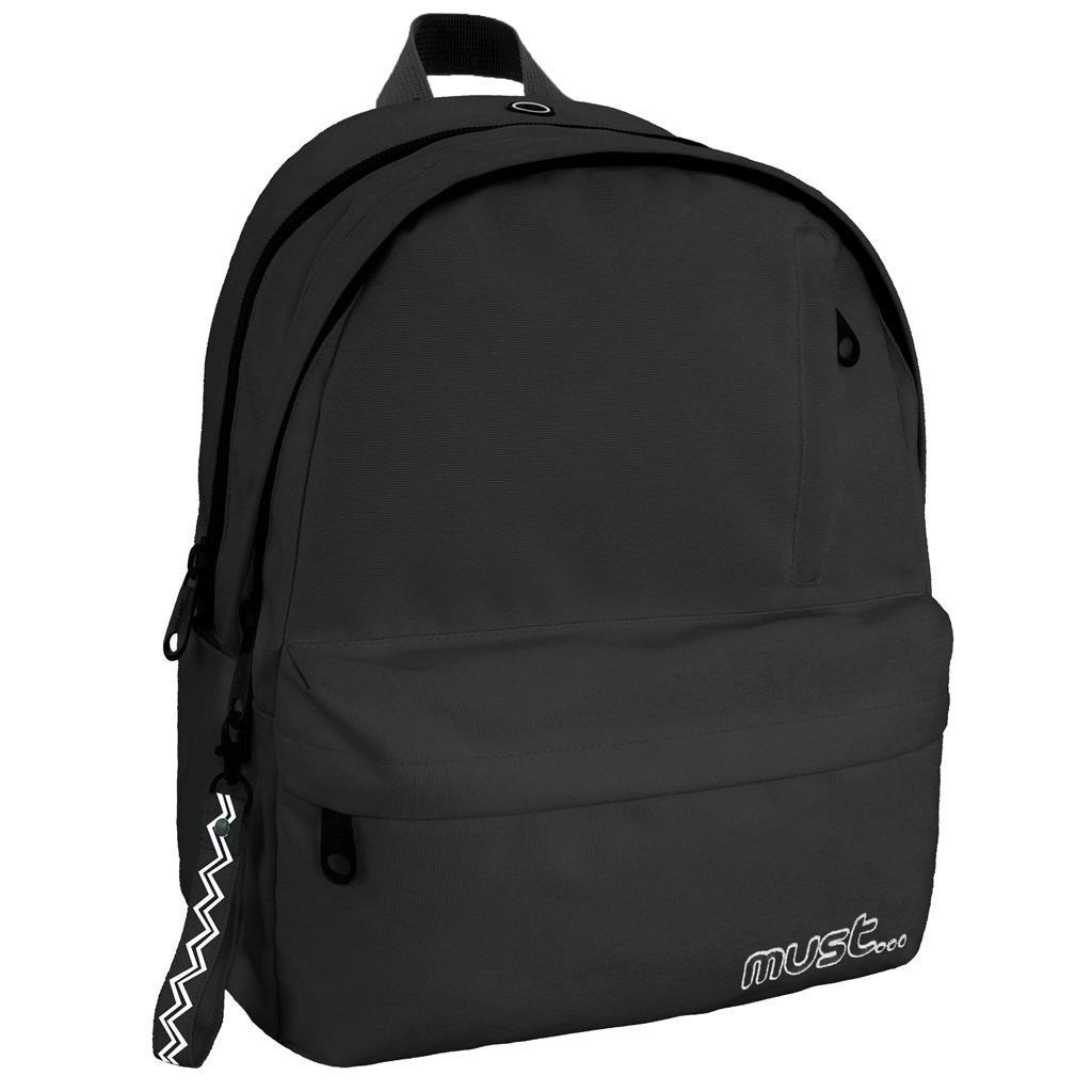Τσάντα Πλάτης Must Monochrome Rpet Μαύρη με 2 Κεντρικές Θήκες