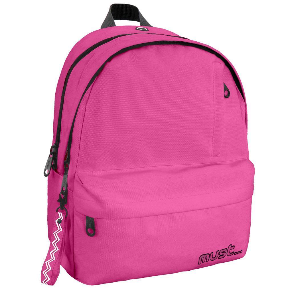 Τσάντα Πλάτης Must Monochrome Rpet Ροζ με 2 Κεντρικές Θήκες