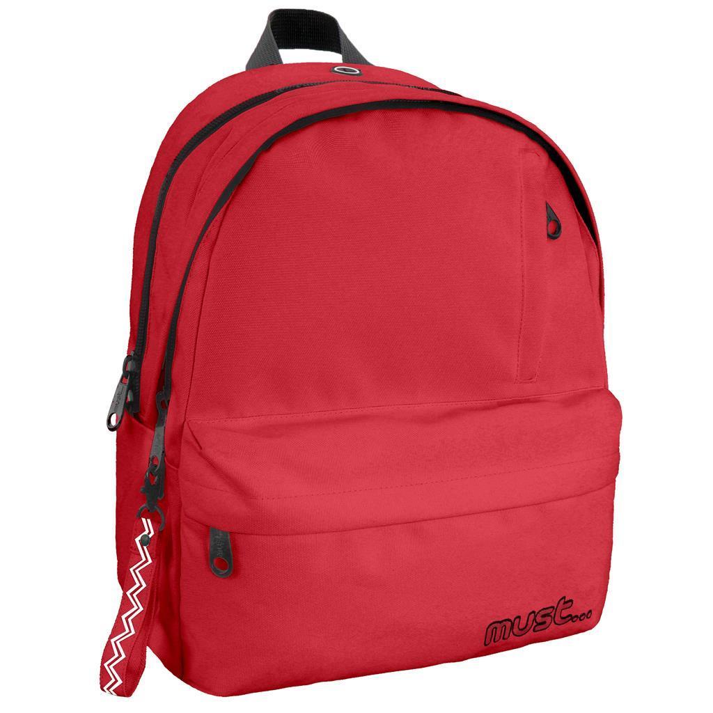Τσάντα Πλάτης Must Monochrome Rpet Κόκκινο με 2 Κεντρικές Θήκες