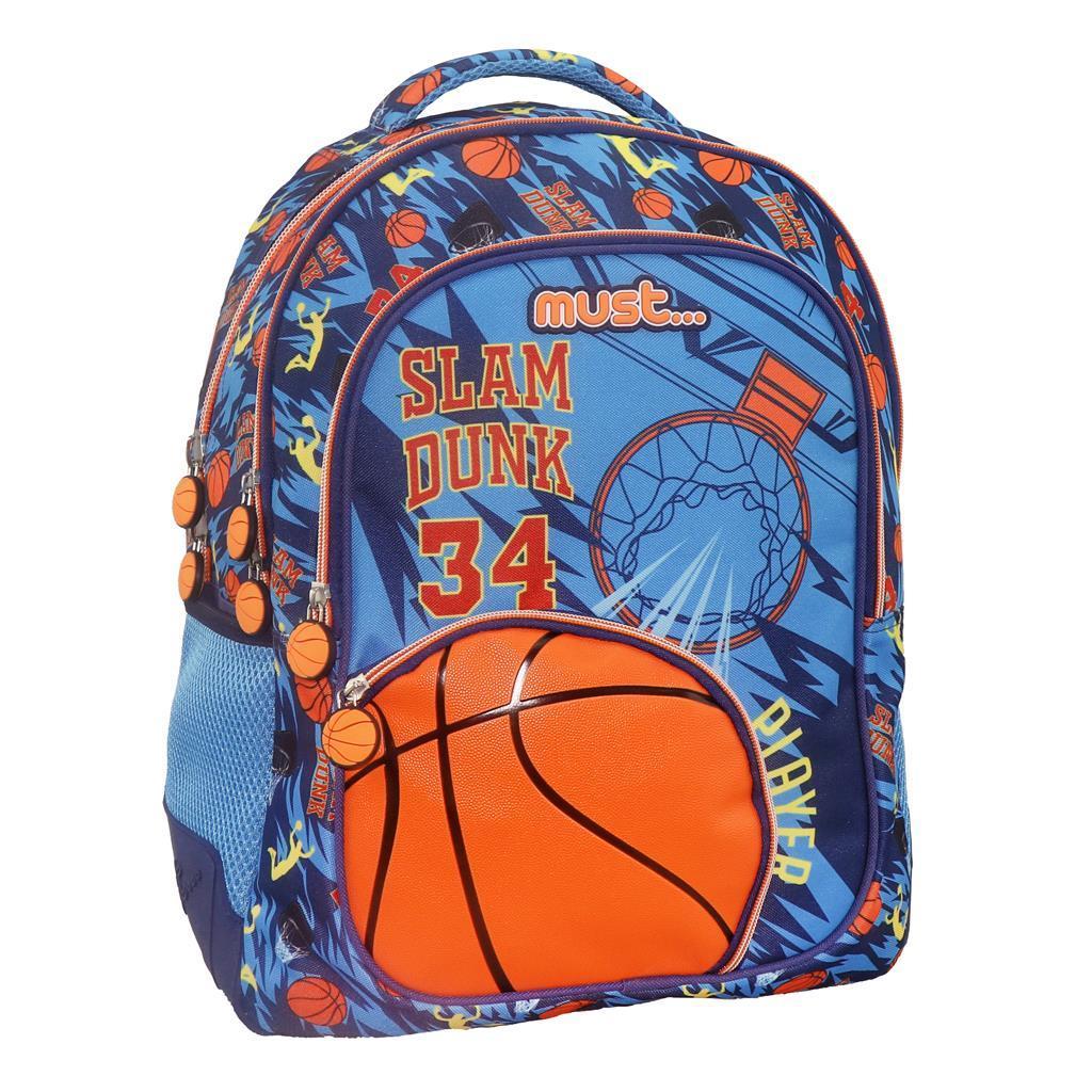 Σχολική Τσάντα Πλάτης Δημοτικού Must Basketball Slam Dunk με 4 Θήκες