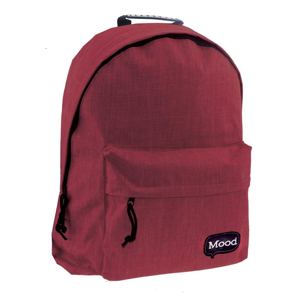 Τσάντα Πλάτης Εφηβική Mood Sigma Μπορντώ με 2 Θήκες