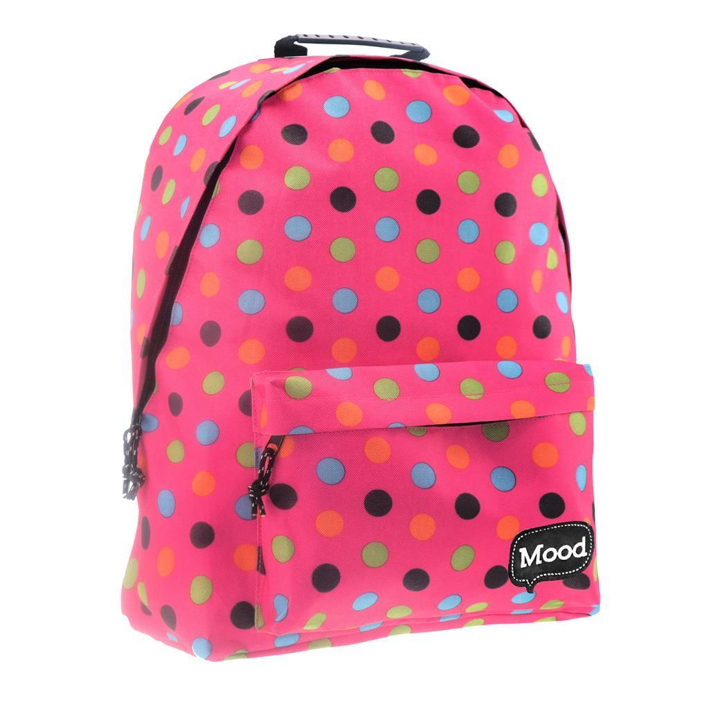 Τσάντα Πλάτης Εφηβική Mood Sigma Ροζ Πουά με 2 Θήκες