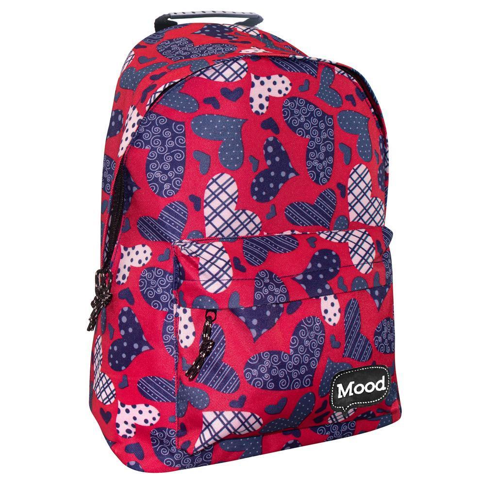 Τσάντα Πλάτης Mood Sigma Καρδιές με 2 Θήκες