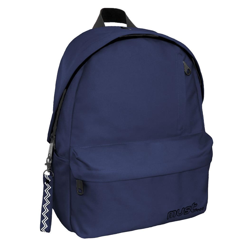 Τσάντα Πλάτης Must Monochrome rPET Μπλε Navy με 1 Κεντρική Θήκη