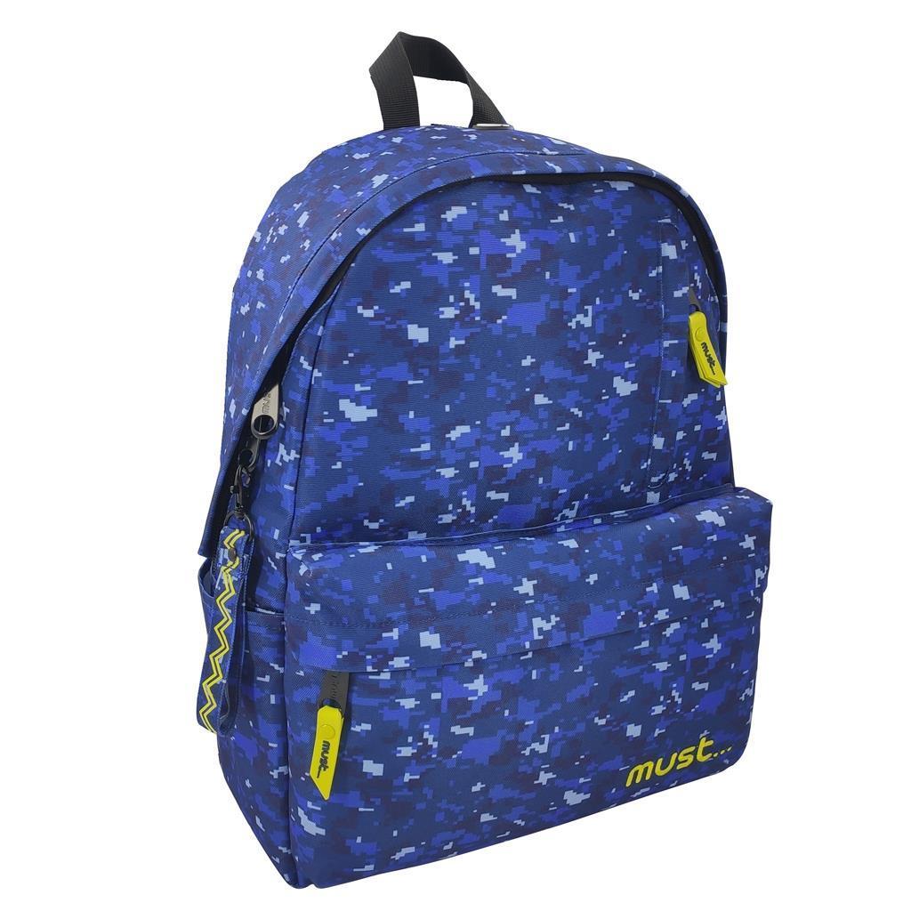 Τσάντα Πλάτης Must Monochrome Army rPET Μπλε με 1 Κεντρική Θήκη