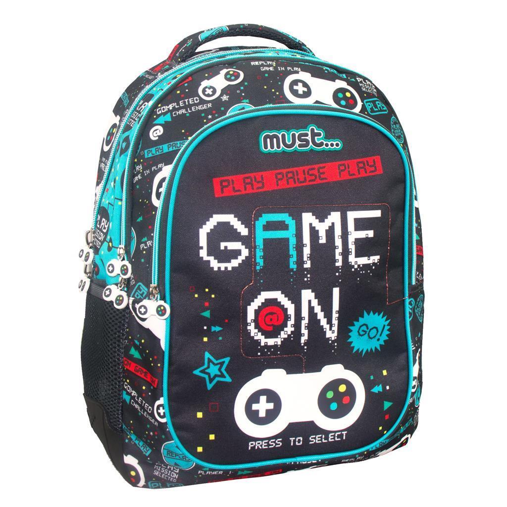 Σχολική Τσάντα Πλάτης Δημοτικού Must Game On με 3 Θήκες