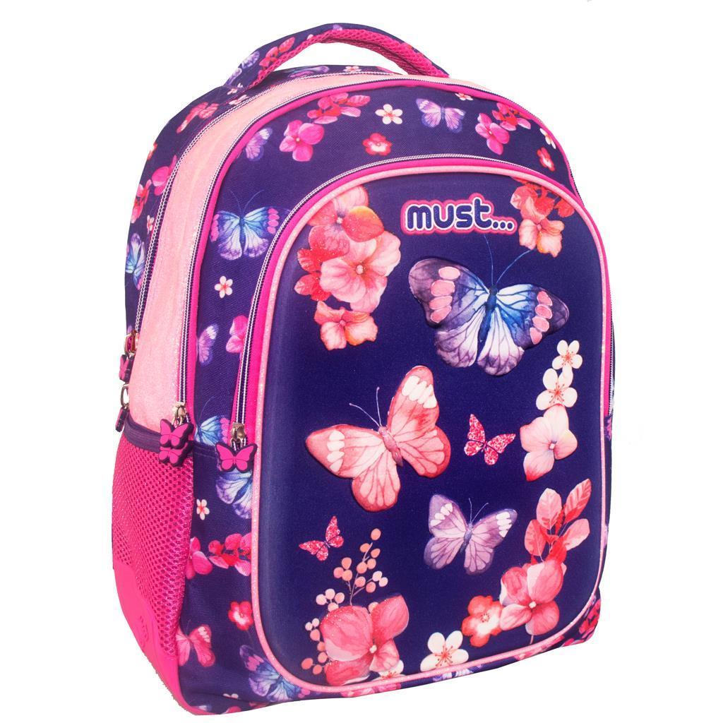 Σχολική Τσάντα Πλάτης Δημοτικού Must Butterfly με 3 Θήκες