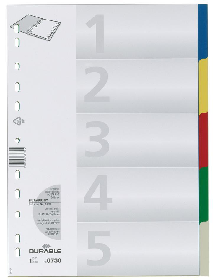 Διαχωριστικά ευρετήρια 1-5 Durable 6730 χρώμα
