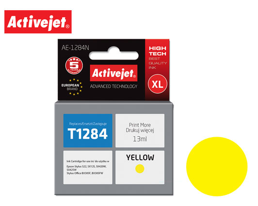 ACTIVE JET INK ΣΥΜΒΑΤΟ ΜΕ EPSON AE-1284N #T1284 YELLOW 13ml (Ν) #C13T12844012