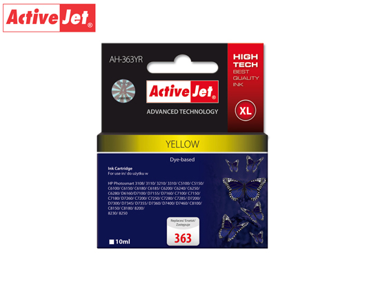 ACTIVE JET INK ΣΥΜΒΑΤΟ ΜΕ HP AH-363YR #363XL YELLOW 10ml (Α) #C8773EE