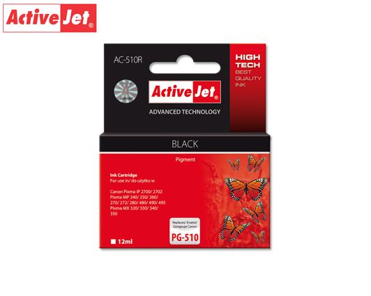 ACTIVE JET INK ΣΥΜΒΑΤΟ ΜΕ CANON AC-510R #PG-510 BLACK 12ml (Α) #2970B001