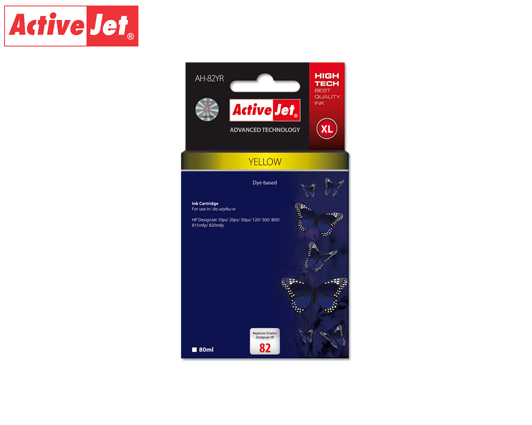 ACTIVE JET INK ΣΥΜΒΑΤΟ ΜΕ HP AH-82YR #82 YELLOW 80ml (Α) #C4913A