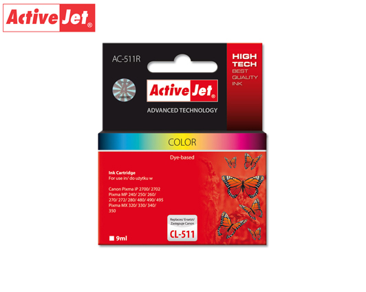 ACTIVE JET INK ΣΥΜΒΑΤΟ ΜΕ CANON AC-511R #CL-511 TRICOLOR 12ml (Α) #2972B001