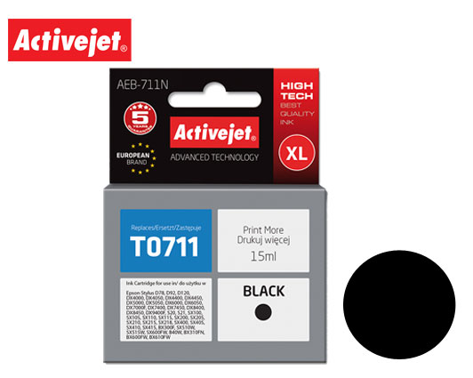 ACTIVE JET INK ΣΥΜΒΑΤΟ ΜΕ EPSON AEB-711N #T0711 BLACK 15ml (Ν) #C13T07114011