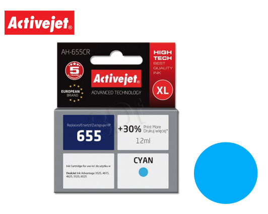 ACTIVE JET INK ΣΥΜΒΑΤΟ ΜΕ HP AH-655CR #655 CYAN 12ml (Α) #CZ110AE