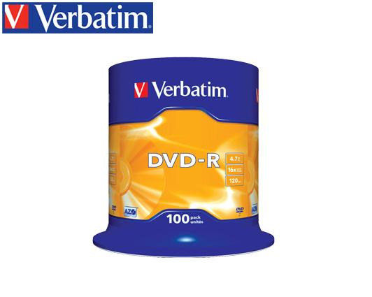 VERBATIM DVD-R 4.7GB 16X 100Τ. CAKEBOX  SILVER