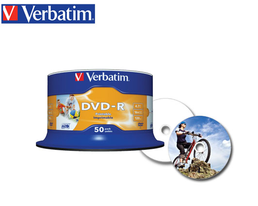 VERBATIM DVD-R 4.7GB 16X 50Τ. PRINTABLE CΑΚΕΒΟΧ