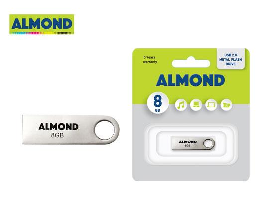 ALMOND FLASH DRIVE USB 8GB ΜΕΤΑΛΛΙΚΟ MINI