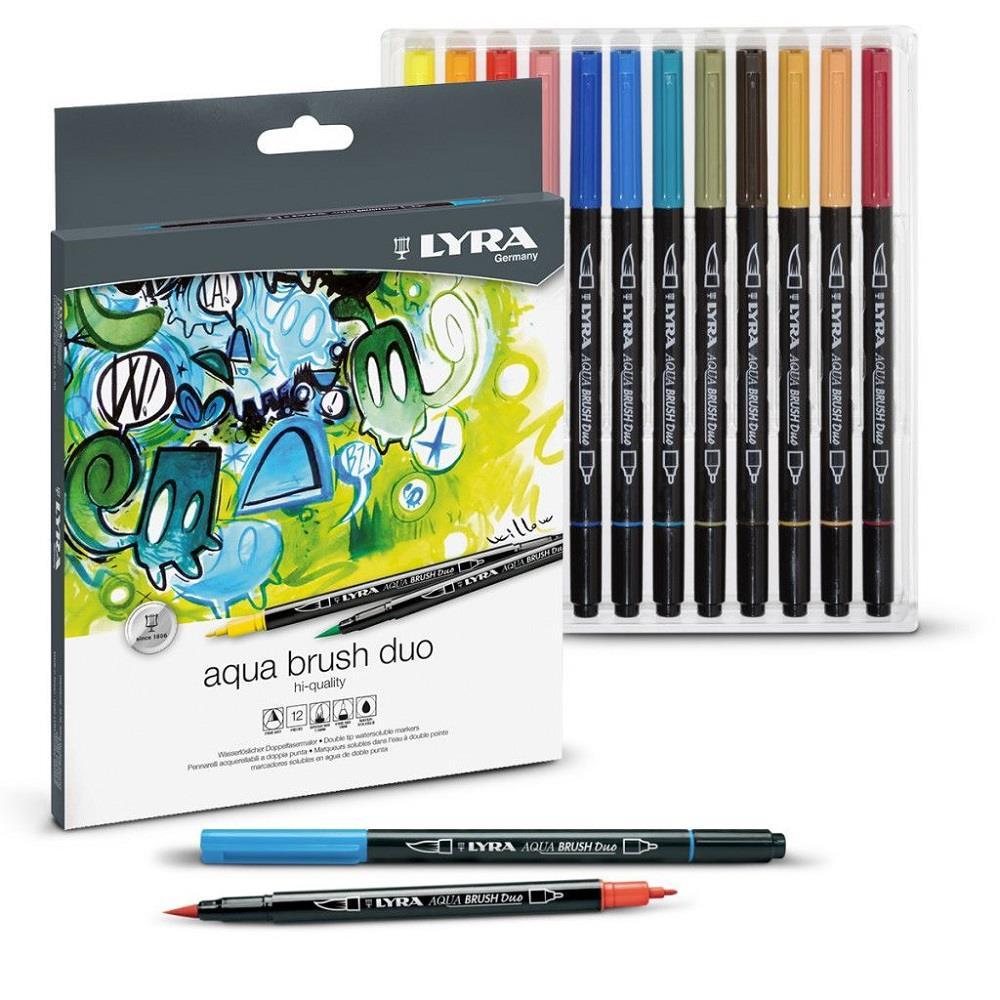 Μαρκαδόροι πινέλο Lyra aqua brush duo 12 τεμ. 1-5 mm