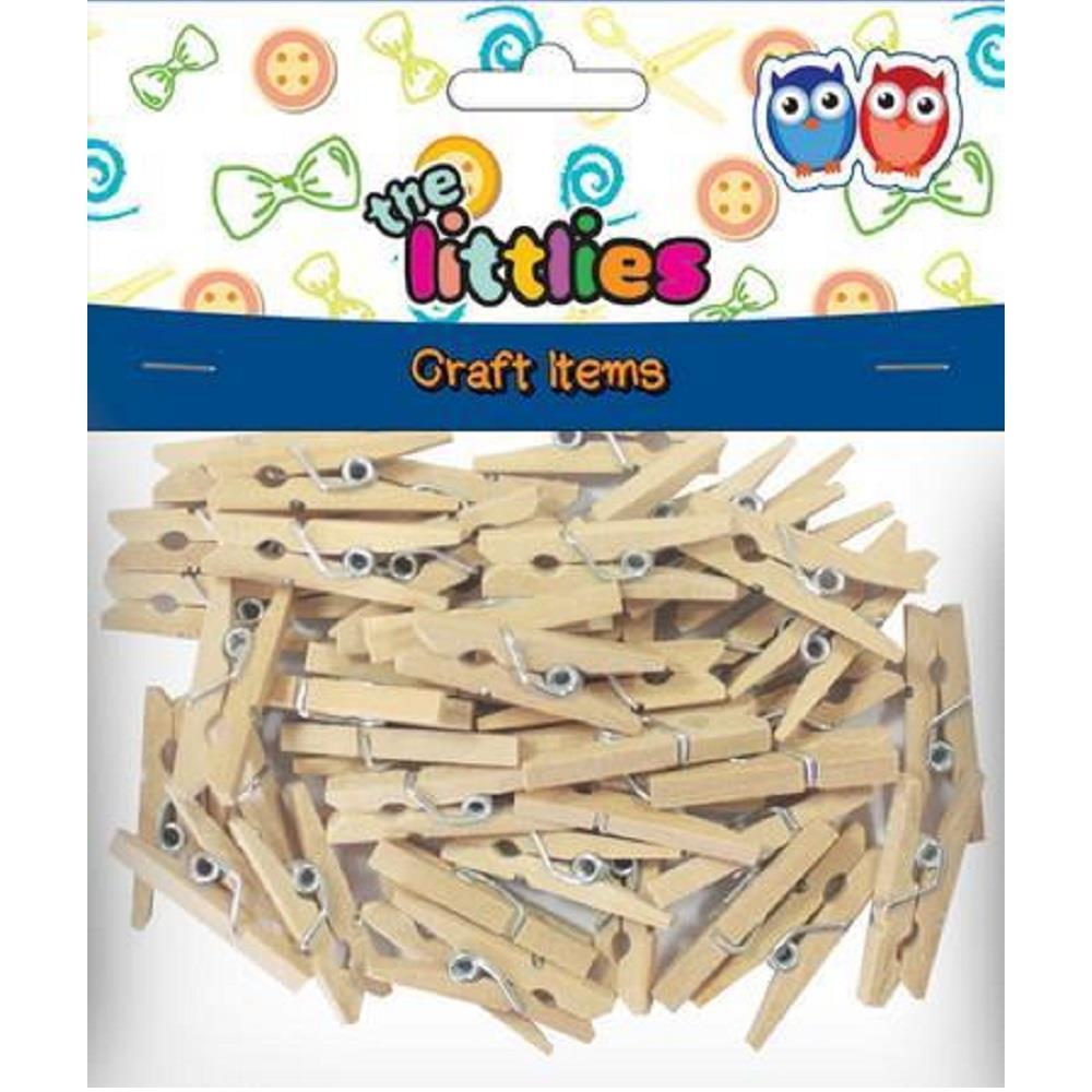 Μανταλάκια ξύλινα The littlies 25mm 45τεμ άχρωμα