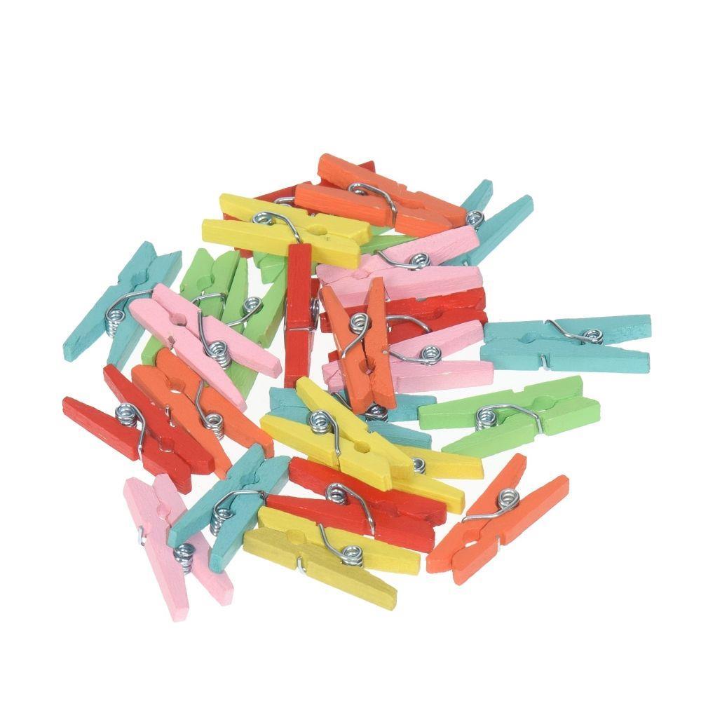 Μανταλάκια ξύλινα 25mm 25τεμ χρωματιστά