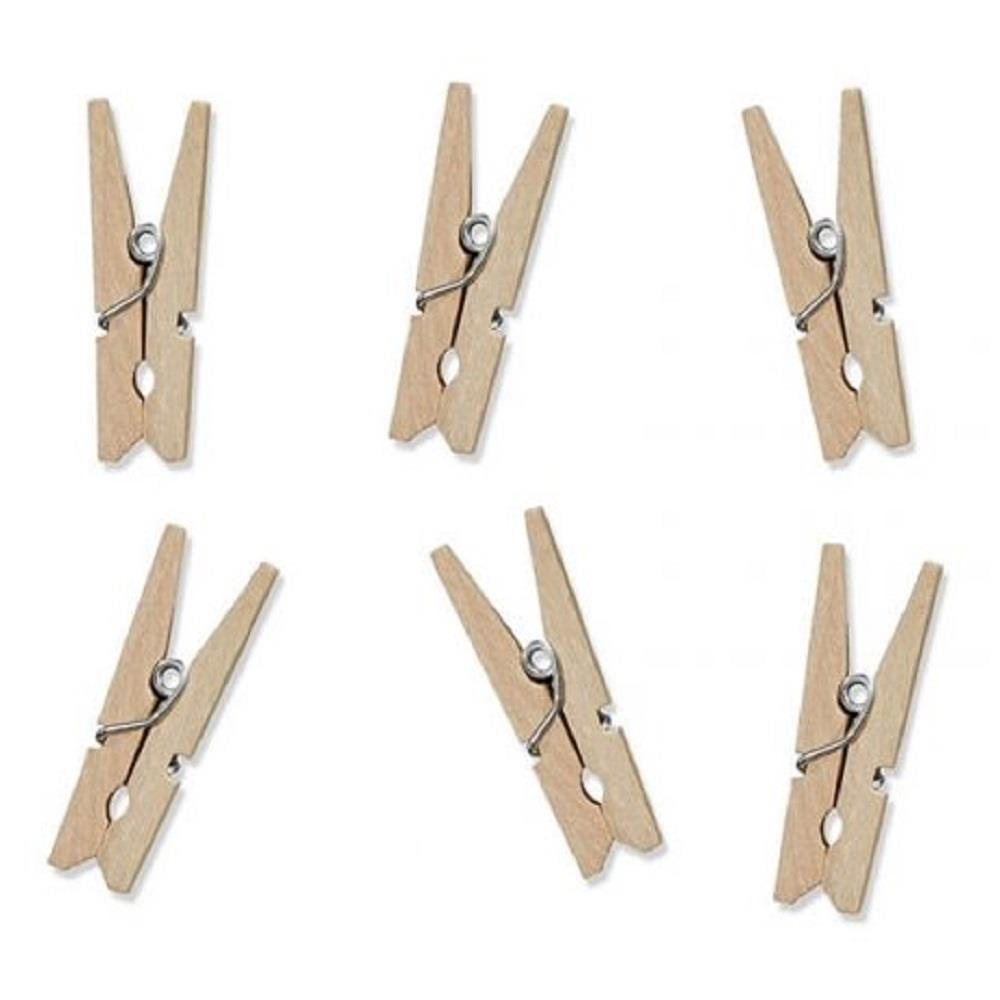 Μανταλάκια ξύλινα 30mm 25τεμ άχρωμα